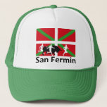 San Fermin Bull Run In Pamplona And Basque Flag, Trucker Hat at Zazzle