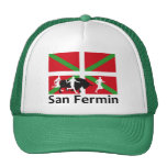 San Fermin Bull Run In Pamplona And Basque Flag, Trucker Hat at Zazzle