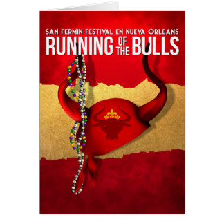 San Fermin in New Orleans Running of the Bulls Card