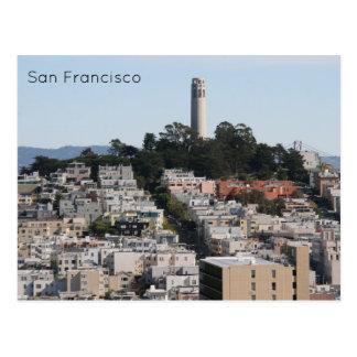 san fran coit streets postcard