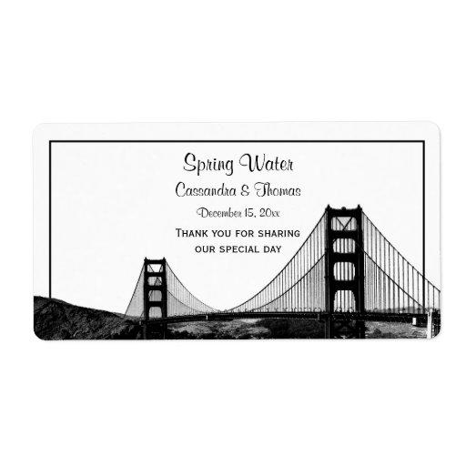 San Fran Skyline Etched BW H Water Bottle Shipping Labels