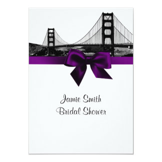 San Fran Skyline Etched BW Purple Bridal Shower 5x7 Paper Invitation Card