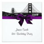 San Fran Skyline Etched BW Purple SQ Birthday 5.25x5.25 Square Paper Invitation Card