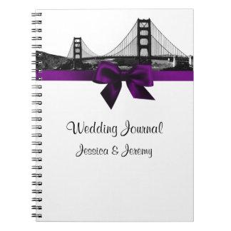 San Fran Skyline Etched BW Purple Wedding Journal