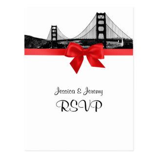 San Fran Skyline Etched BW Red RSVP 1 Postcard