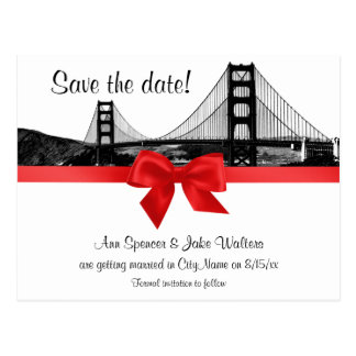 San Fran Skyline Etched BW Red Save the Date Postcard