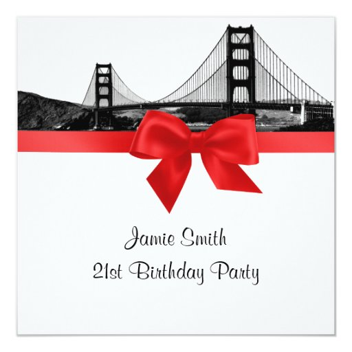 San Fran Skyline Etched BW Red SQ Birthday Party 5.25x5.25 Square Paper Invitation Card