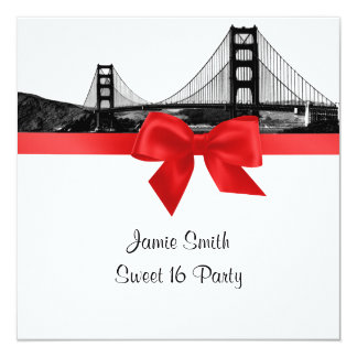 San Fran Skyline Etched BW Red Sweet Sixteen SQ 5.25x5.25 Square Paper Invitation Card