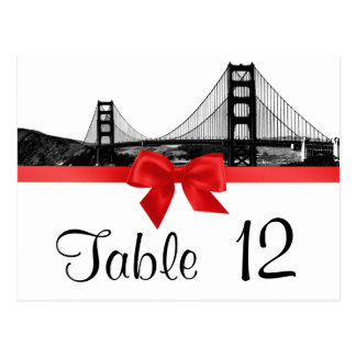 San Fran Skyline Etched BW Red Table Number Postcard
