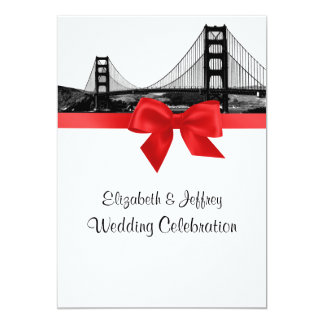 San Fran Skyline Etched BW Red Wedding 5x7 Paper Invitation Card