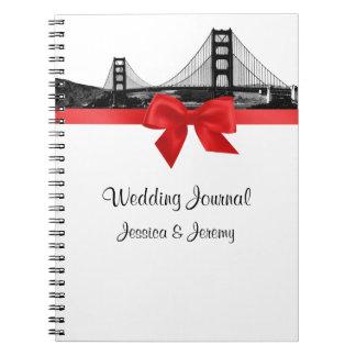 San Fran Skyline Etched BW Red Wedding Journal