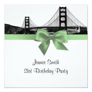 San Fran Skyline Etched BW Sage Green SQ Birthday Card