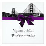 San Fran Skyline Etched BW SQ Purple Wedding 5.25x5.25 Square Paper Invitation Card