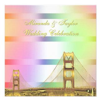 San Fran Skyline Gold Pastel Rainbow SQ Wedding Custom Announcements