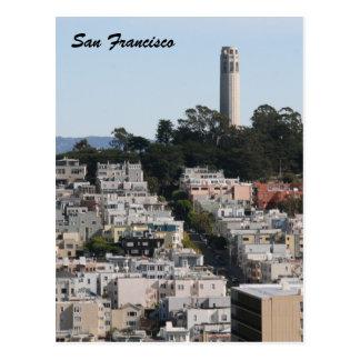 san fran streets tower postcard
