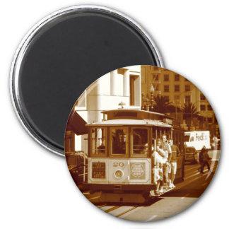 san fran trolley car 2 inch round magnet
