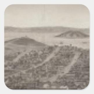 San Francisco, 1862 de la colina rusa Calcomanía Cuadrada Personalizada