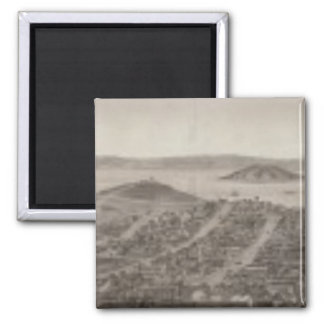 San Francisco, 1862 from Russian Hill 2 Inch Square Magnet