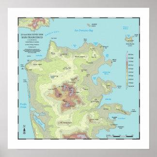 San Francisco 25ft Sea Rise Map - 16x16 Poster