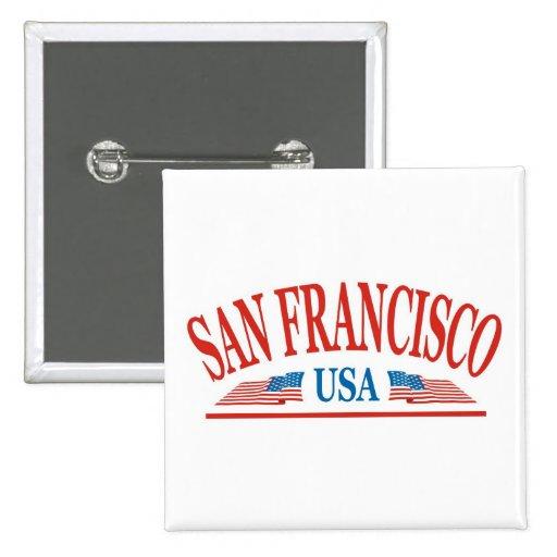 San Francisco 2 Inch Square Button