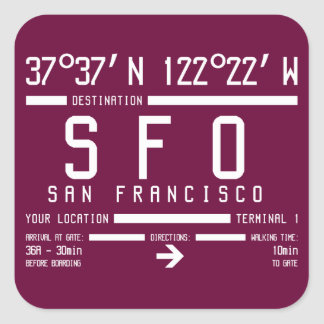 San Francisco Airport Code Square Sticker