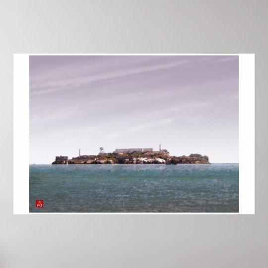 San Francisco -Alcatraz Island Digital Watercolor  Poster