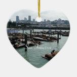 San Francisco and Pier 39 City Skyline Photography Double-Sided Heart Ceramic Christmas Ornament