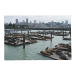 San Francisco and Pier 39 City Skyline Photography Laminated Place Mat