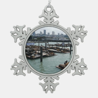 San Francisco and Pier 39 City Skyline Photography Snowflake Pewter Christmas Ornament