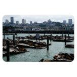San Francisco and Pier 39 City Skyline Photography Rectangular Photo Magnet