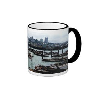 San Francisco and Pier 39 City Skyline Photography Ringer Coffee Mug