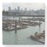 San Francisco and Pier 39 City Skyline Photography Stone Coaster