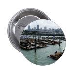 San Francisco and Pier 39 Sea Lions City Skyline Button