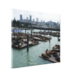 San Francisco and Pier 39 Sea Lions City Skyline Canvas Print