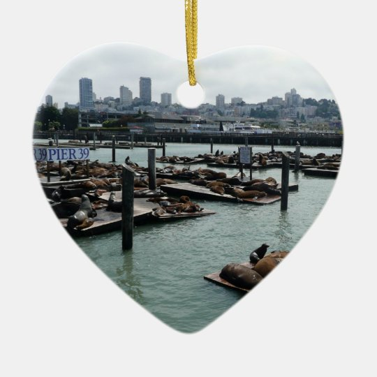 San Francisco and Pier 39 Sea Lions City Skyline Ceramic Ornament