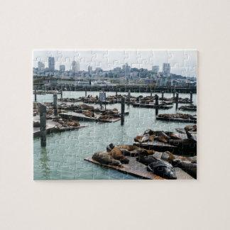 San Francisco and Pier 39 Sea Lions City Skyline Jigsaw Puzzle