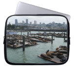 San Francisco and Pier 39 Sea Lions City Skyline Laptop Sleeve