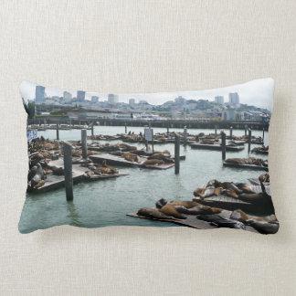 San Francisco and Pier 39 Sea Lions City Skyline Lumbar Pillow