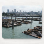 San Francisco and Pier 39 Sea Lions City Skyline Mouse Pad