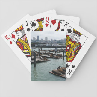 San Francisco and Pier 39 Sea Lions City Skyline Playing Cards