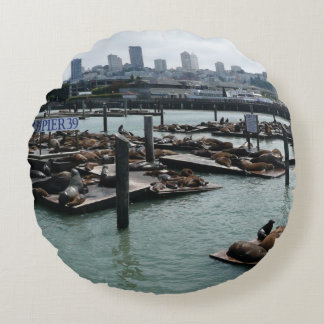 San Francisco and Pier 39 Sea Lions City Skyline Round Pillow