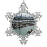 San Francisco and Pier 39 Sea Lions City Skyline Snowflake Pewter Christmas Ornament