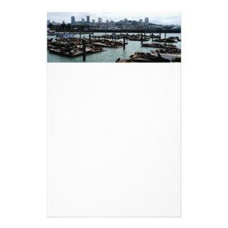 San Francisco and Pier 39 Sea Lions City Skyline Stationery