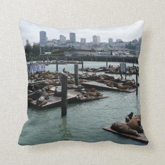 San Francisco and Pier 39 Sea Lions City Skyline Throw Pillow