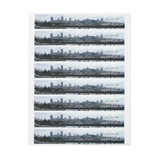 San Francisco and Pier 39 Sea Lions City Skyline Wrap Around Label