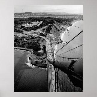 SAN FRANCISCO and PRESIDIO form GOLDEN GATE BRIDGE Poster
