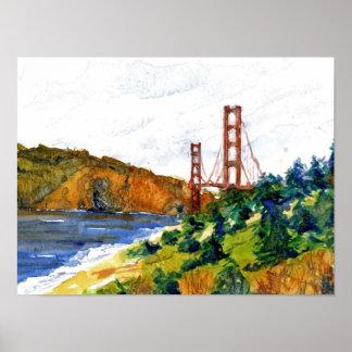 San Francisco and the Golden Gate Bridge Print