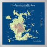 "San Francisco Archipelago, 200' sea level rise 12"" Poster"