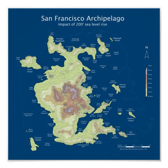 "San Francisco Archipelago, 200' sea level rise 12"" Poster"