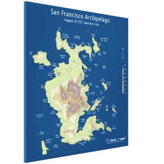 "San Francisco Archipelago, 200' sea level rise 32"" Gallery Wrapped Canvas"